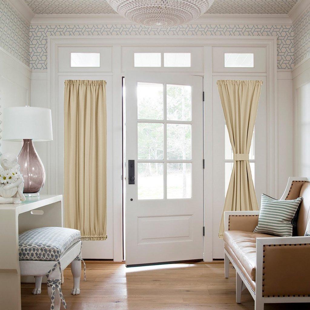 Long Beige Nicetown Room Darkening Door Panel - Window Treatment Thermal Insulated Blackout French Door Curtain