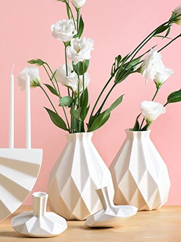 Amazon Handmade Geometric Vase White Ceramic Origami Inspired