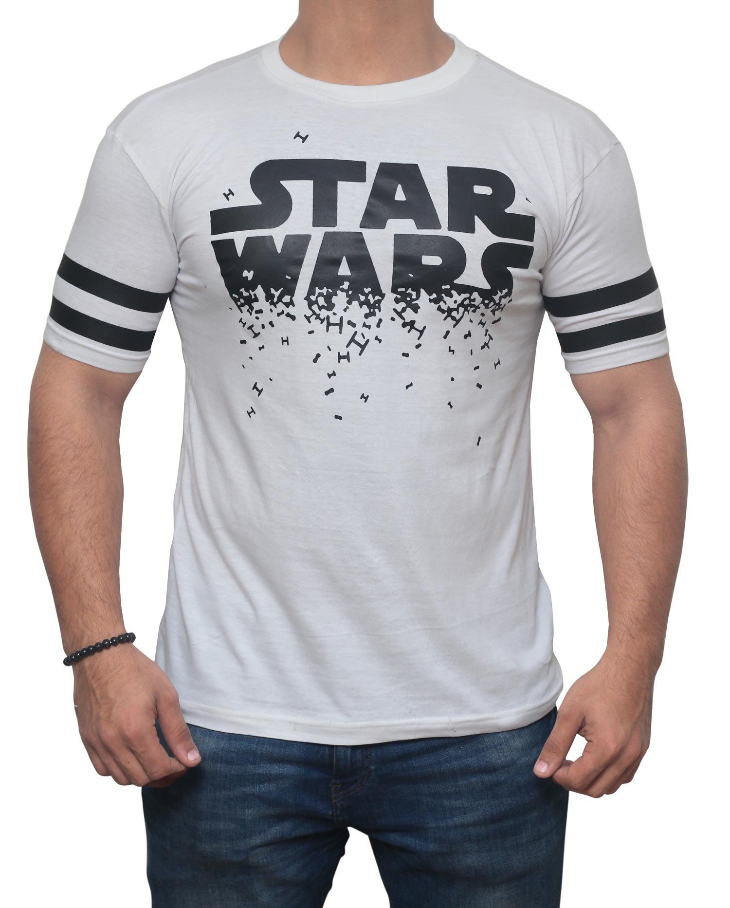 Miracle(Tm)) Mens Star Wars Logo Shirt - Adult Cotton Star Wars T-Shirt (Star Wars, Large)