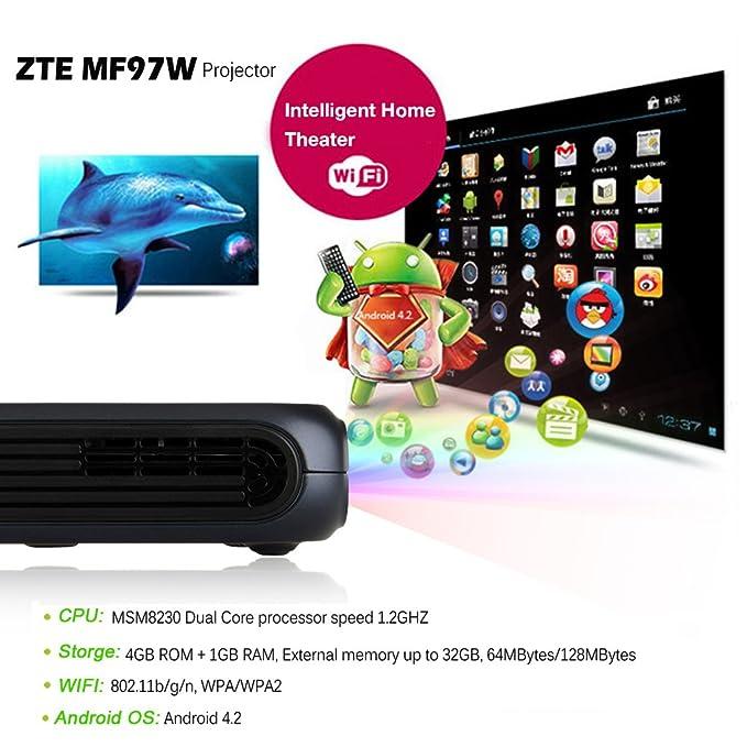 ZTE SPro MF97W WiFi Mini portátil Proyector de cine: Amazon.es ...