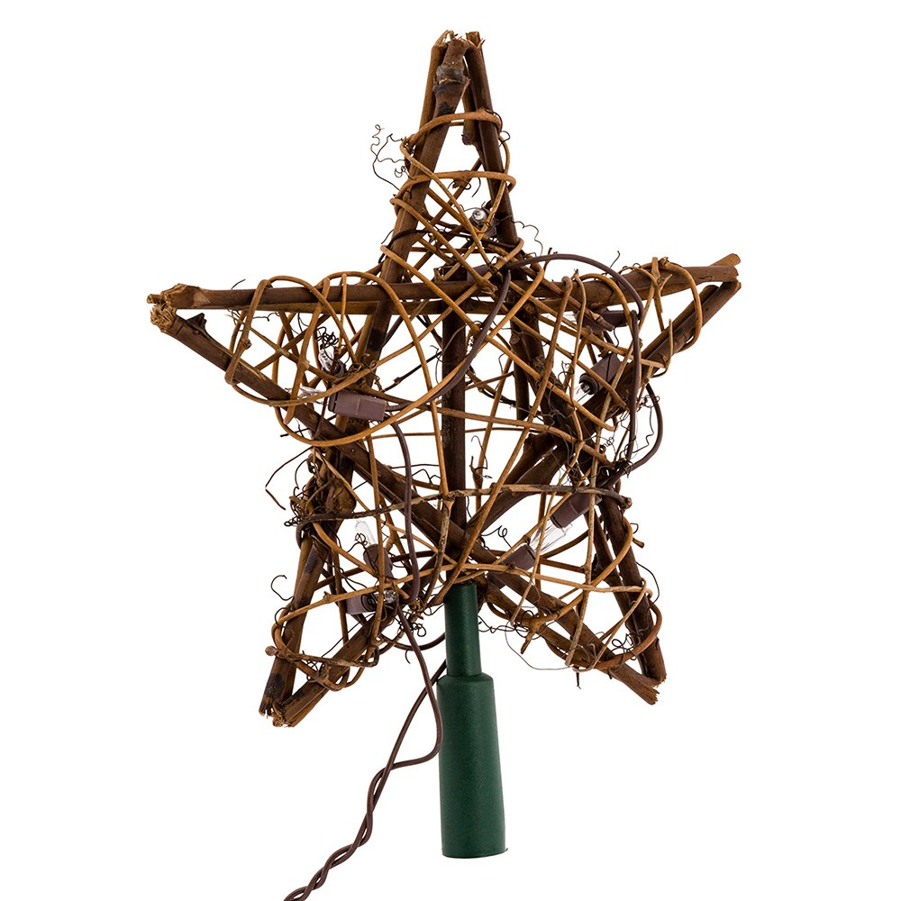 Kurt Adler 10 Light Indoor Rattan Natural Star Treetop by Kurt Adler