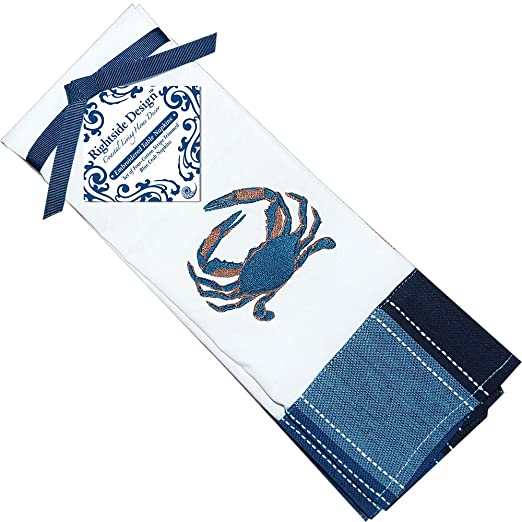 Blue Crab Motif Striped Cotton Blend Napkins  Set of 4