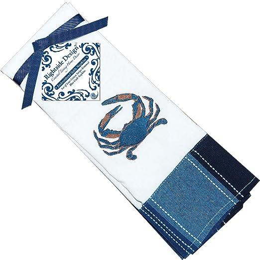 Blue Crab Motif Striped Cotton Blend Napkins  Set of 4