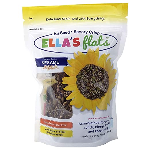 ELLA'S FLATS All Seed Savory Crisps - ORIGINAL SESAME (6.5oz Resealable Bag) - 3 PACK - Gluten Free, Sugar Free, Grain Free, High Fiber, Low Carb, Vegan, Keto, Paleo