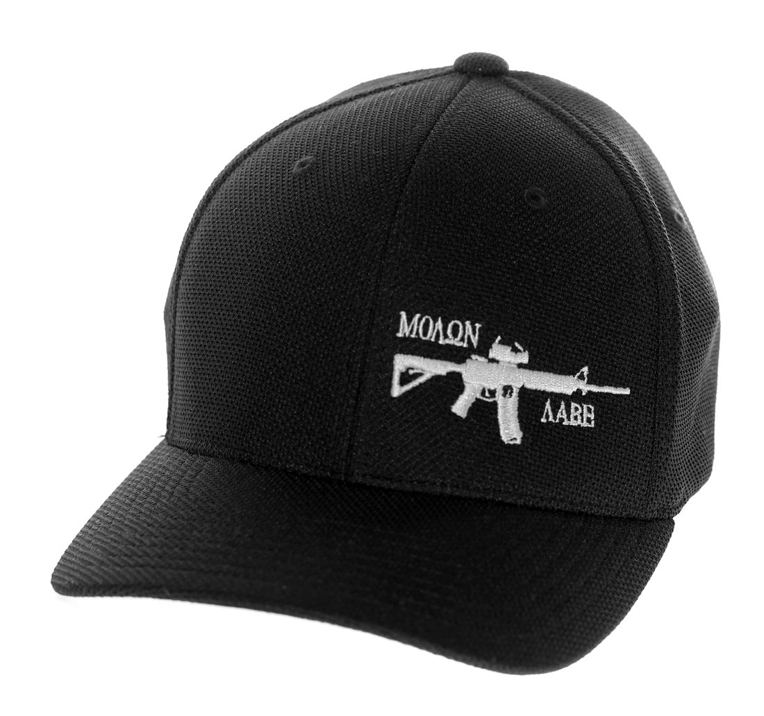 b5f604a2938 Molon labe apparel men flexfit hat molon labe ar black with white at amazon  men clothing