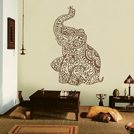 MairGwall India Wall Art Elephant Yoga Wall Decals Living Room Decor  Bedroom Dorm Decoration (38u0026quot