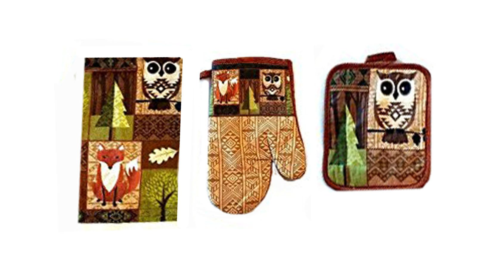 3 Piece Kitchen Set - Towel Potholder Oven Mitt - Woodland Animal Theme with Fox and Owl Design, Cotton Construction