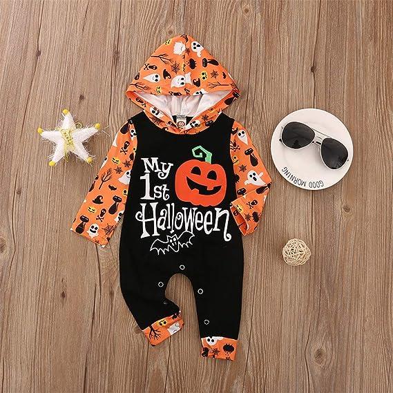 Mi Primer Traje de beb/é reci/én Nacido de Halloween Traje de Calabaza con Capucha Mono de Mameluco Mono de una Pieza