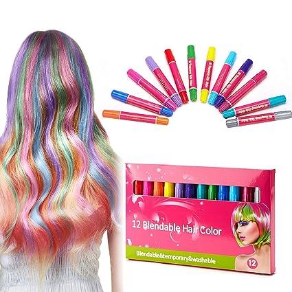 symeas Hair charks regalo Juego de Niños, 12 colores una vez ...