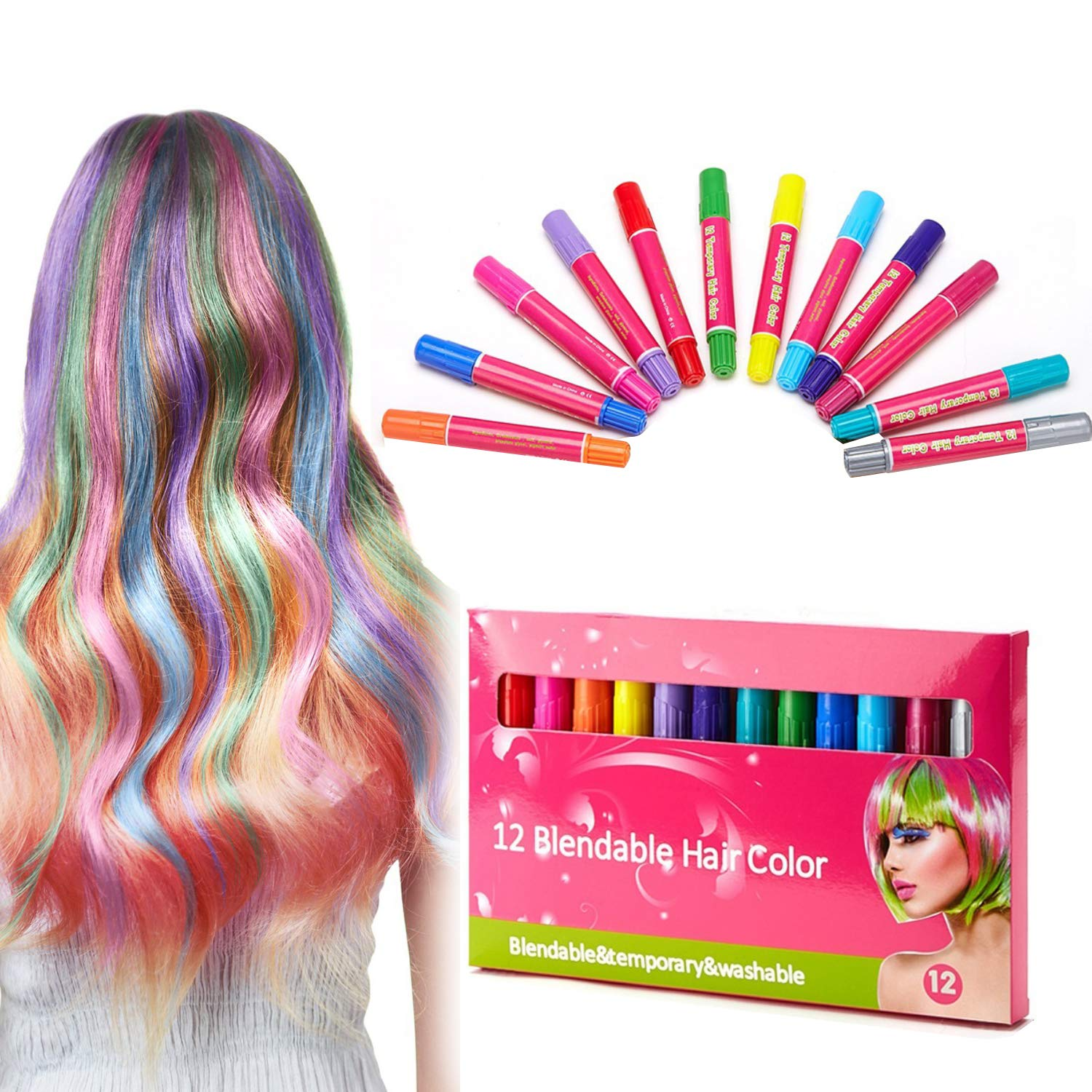 Spdoo Hair Charks Gift Set Kids, 12 Colors One-time Hair Dye Stick, Easy to Wash Out No Mess, Best Birthday Party Present Gifts Girls Boys