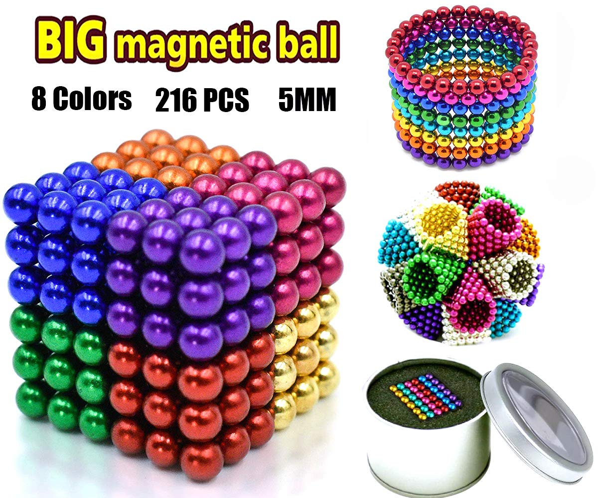 Coolpay 8 Colors 216 Pcs 5MM Magnets DIY Toys Magnetic Fidget Blocks Building Blocks for Development of Intelligence Learning and Stress Relief Gift for Adults or Kids by Coolpay