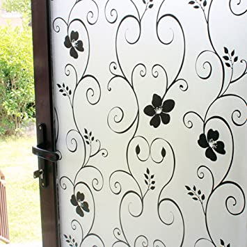 DUOFIRE Vinilo para Ventana de Privacidad Vinilo de Ventana Decorativa del Película de Ventana Autoadhesiva Sin Pegamento Película para Vidrio Anti-UV (60cm ...