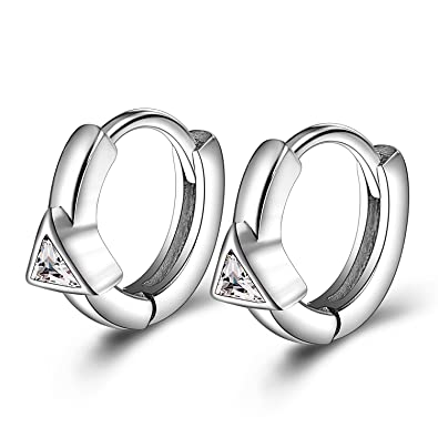 faa9c8d85a7ad Hypoallergenic 12mm Tiny Small Hinged Hoop Sleepers Earrings for Women  Girls 925 Sterling Silver