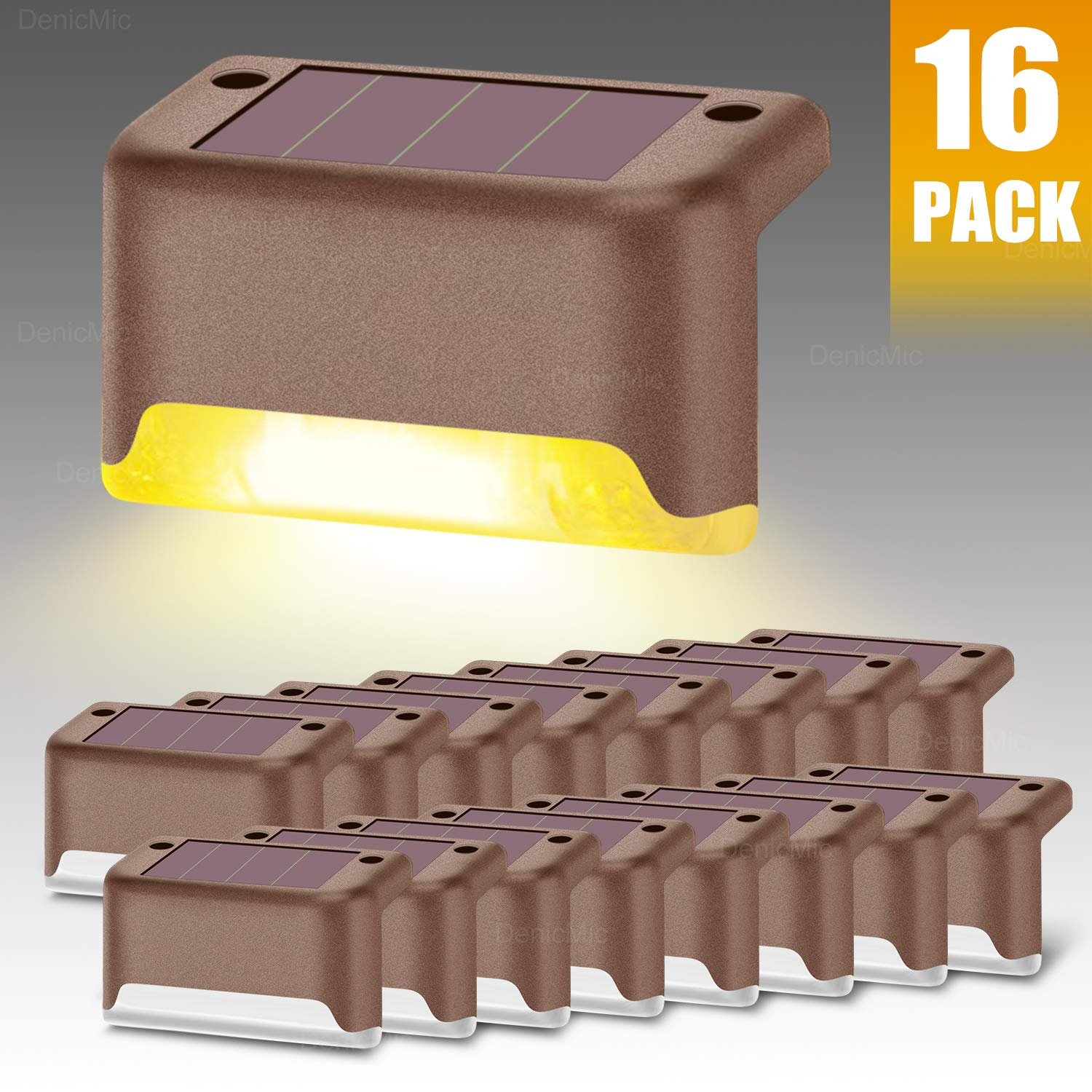 DenicMic Solar Deck Lights 16 Pack Fence Post Solar Lights for Patio Pool Stairs Step and Pathway, Weatherproof LED Deck Lights Solar Powered Outdoor Lights (Warm White) by DenicMic