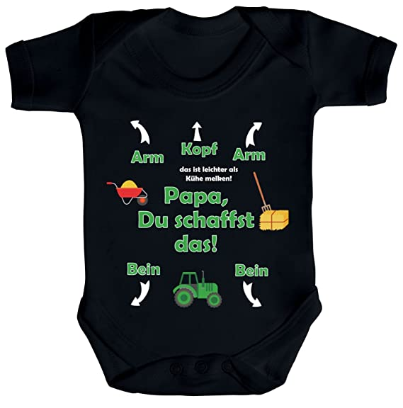 Shirtstreet Geschenk Zum Vatertag Trecker Traktor Strampler Bio Baumwoll Baby Body Kurzarm Jungen Mädchen Landwirt Papa Du Schaffst Das