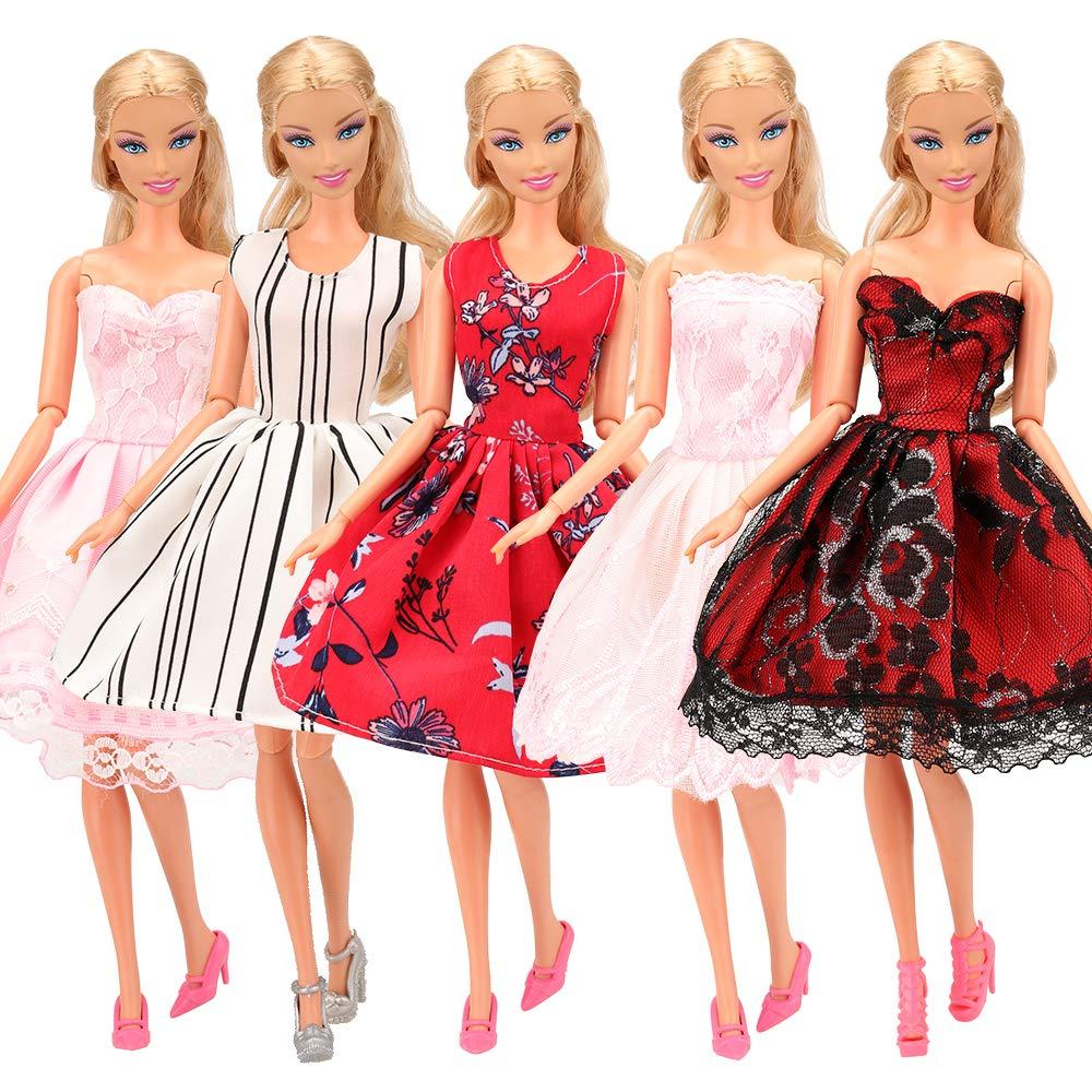 aaf9eeadd7 Amazon.es  Miunana 5x Vestidos de Noche Mini Vestido Corto Ropa Casual  Vestir Fiesta como Regalo para Muñeca Barbie Doll Estilo al Azar  Juguetes  y juegos
