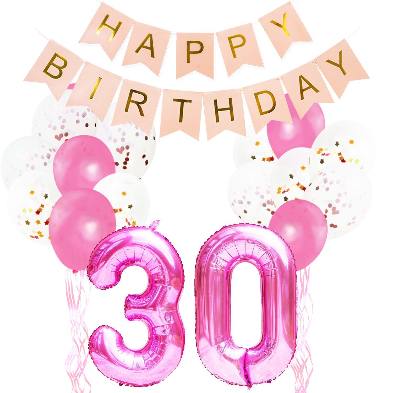 KUNGYO Decoraciones de Fiesta Rosa para el 30 Cumpleaños - Suministros Lindos de Fiesta de Cumpleaños para Niñas Happy Birthday Bandera Globos Cintas