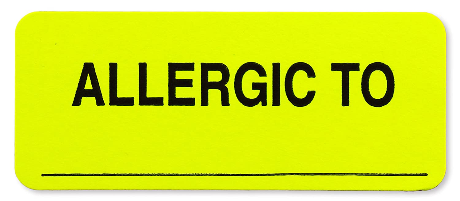 """""""Allergic To"""" Fluorescent Yellow Stickers with Write-on Surface 