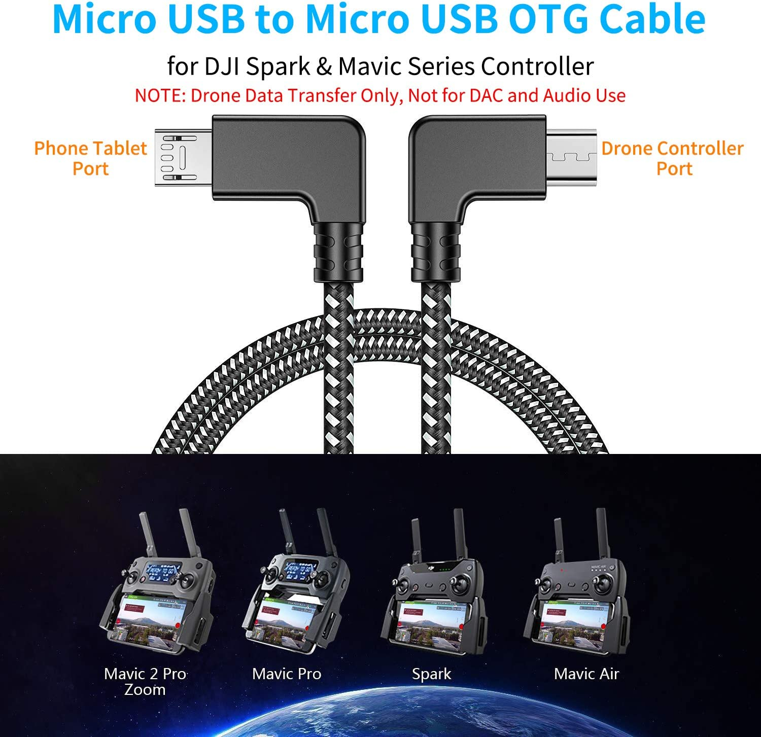 PRO OTG Cable Works for Asus ZC600KL Right Angle Cable Connects You to Any Compatible USB Device with MicroUSB Cable!