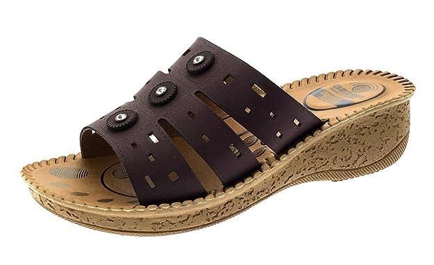 Para mujer de piel sintética Casual comodidad acolchado Hombre Flexi Sole Zapatos de Cuña Tacón Bajo Sandalias Mujer tamaños 3 - 8, color morado, ...