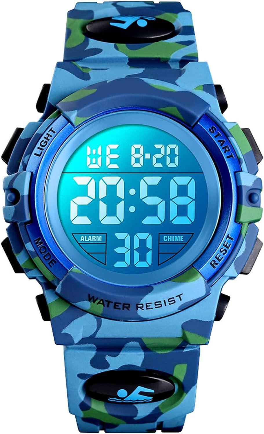 Reloj digital para niños, resistente al agua, reloj deportivo para niños, con despertador/cronómetro/12 – 24 h, reloj electrónico para niños, reloj de pulsera LED para adolescentes, niño, camuflaje