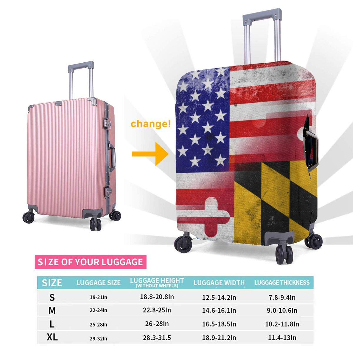 USA and Maryland State Flag with a Vintage and Old Look XL Fashion Luggage Covers Suitcase Protector Jacket Dust-proof Anti-thief Case S M L XL for 18-32 inch Luggage