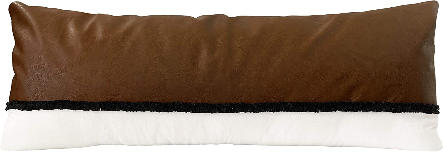 Boho Faux Leather Brown Beige Ivory Black Tufted Fringe Bohemian Farmhouse Accent Decorative Couch Long Lumbar Throw Zipper Body Pillow Cover Case 54x20 Off White Modern Bedroom Living Room Decor Dorm