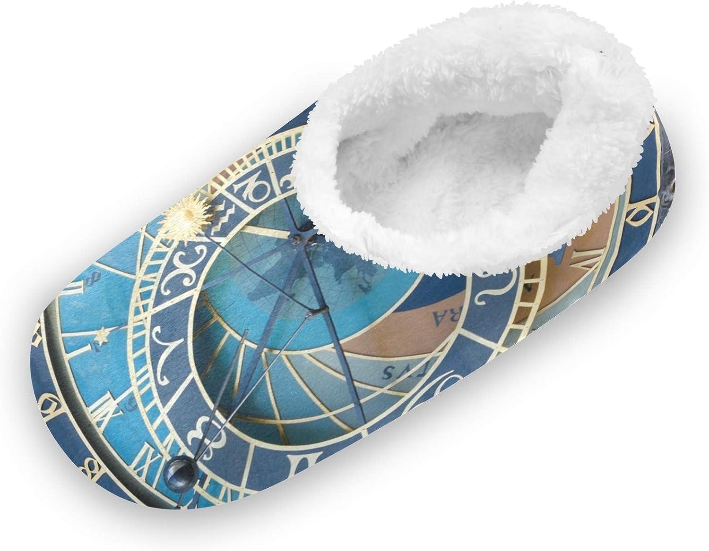 TropicalLife iRoad - Zapatillas de casa con patrón de reloj vintage con pies peludos, antideslizantes, cálidas, para mujeres, hombres, interiores