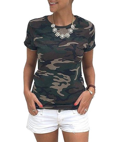 Camisetas Mujer de Manga Corta Camisas Camuflaje Deporte Blusas Verano Casual Originale T-Shirt para