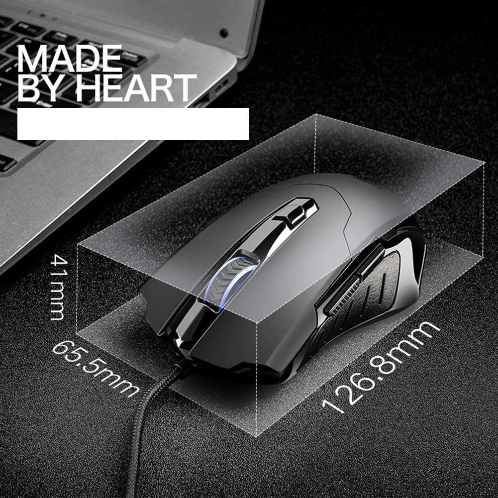 Xfc Gaming Mouse Wired Ergonomic Game USB Computer Mice,4 Adjustable DPI Levels and 6 Buttons Suitable for Laptop Desktop Computer