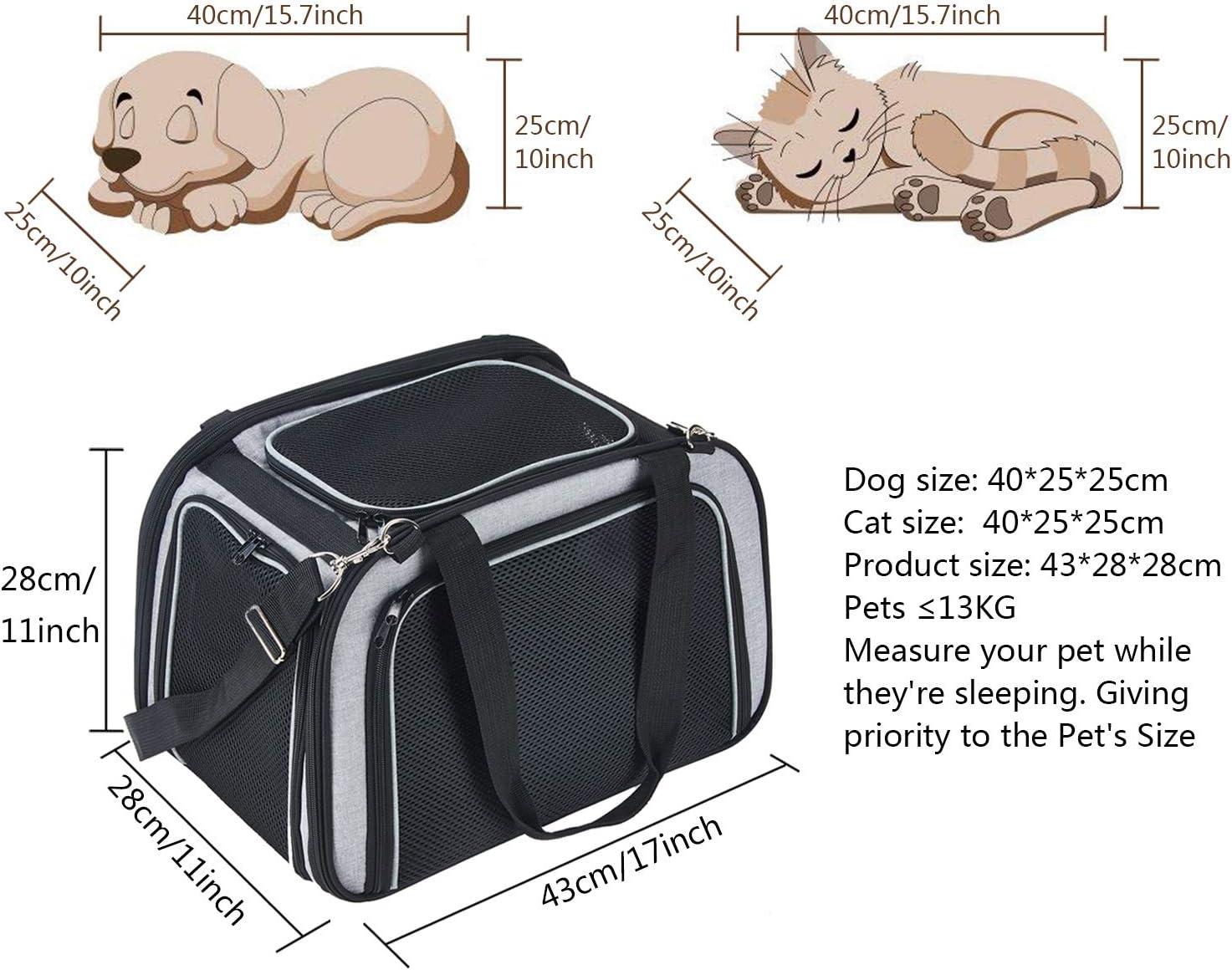 PETTOM Trasportino Cane Gatto Pet Carrier Pieghevole Impermeabile Borsa Tracolla Imbottito Morbido Viaggio in Aereo Auto Treno per Animale Taglia Piccola 43 * 28 * 28 cm, Grigio + Nero