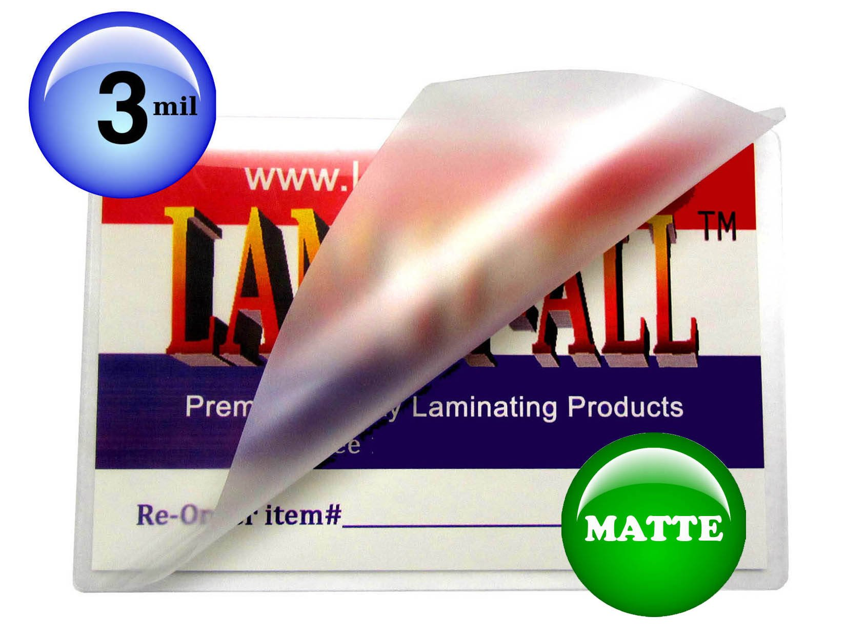 LAM-IT-ALL Hot Laminating Pouches Business Card (pack of 1,000) 3 Mil 2-1/4 x 3-3/4-inch Matte/Matte