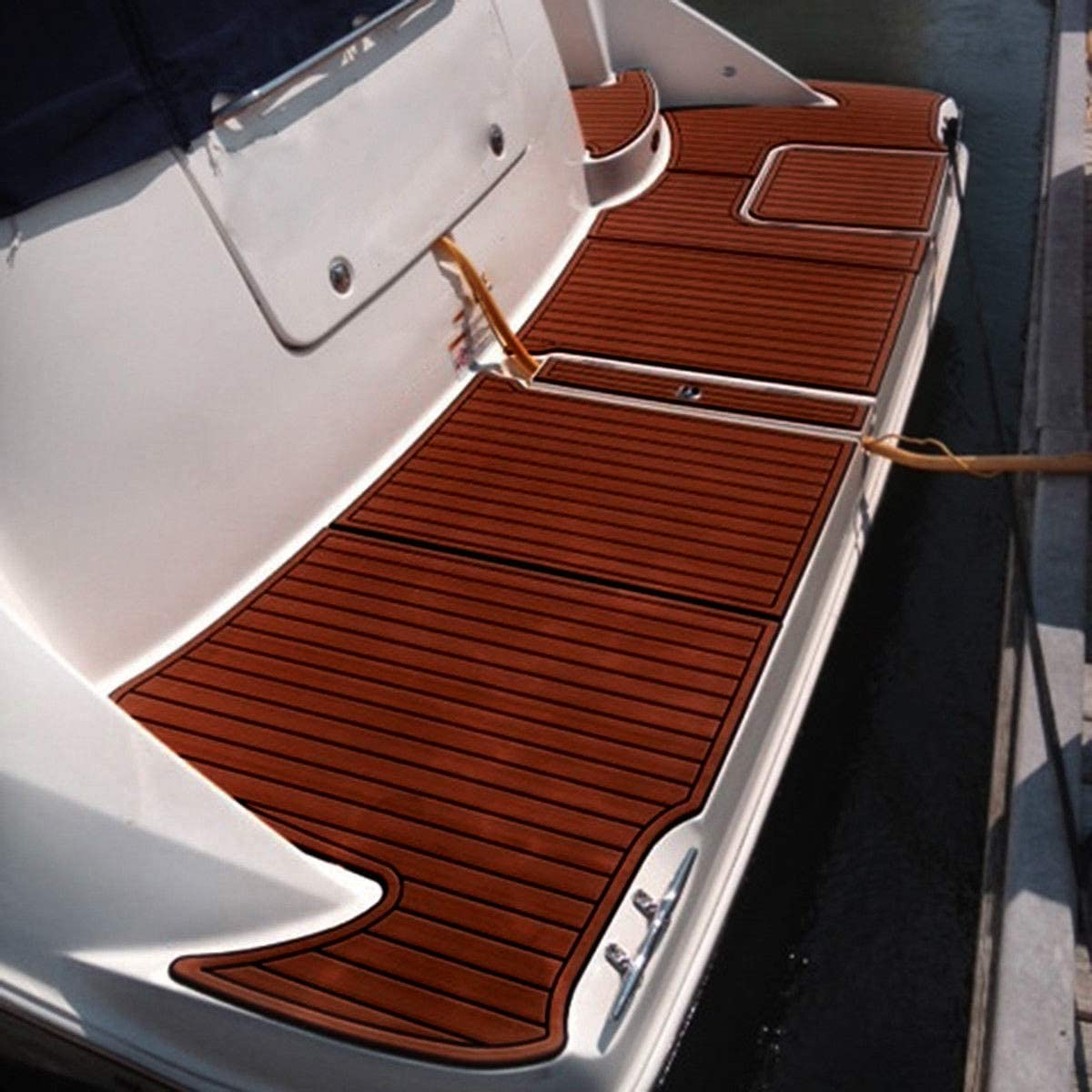Barcos de Teca sint/ética para Kayak Alfombrilla Antideslizante de Espuma EVA para Suelos Marinos con Adhesivo 3M Toogou