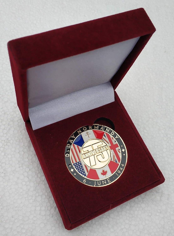 Gemelolandia Medalla 75 del Aniversario Desembarco de Normandía D-Day 40mm Con Estuche: Amazon.es: Ropa y accesorios