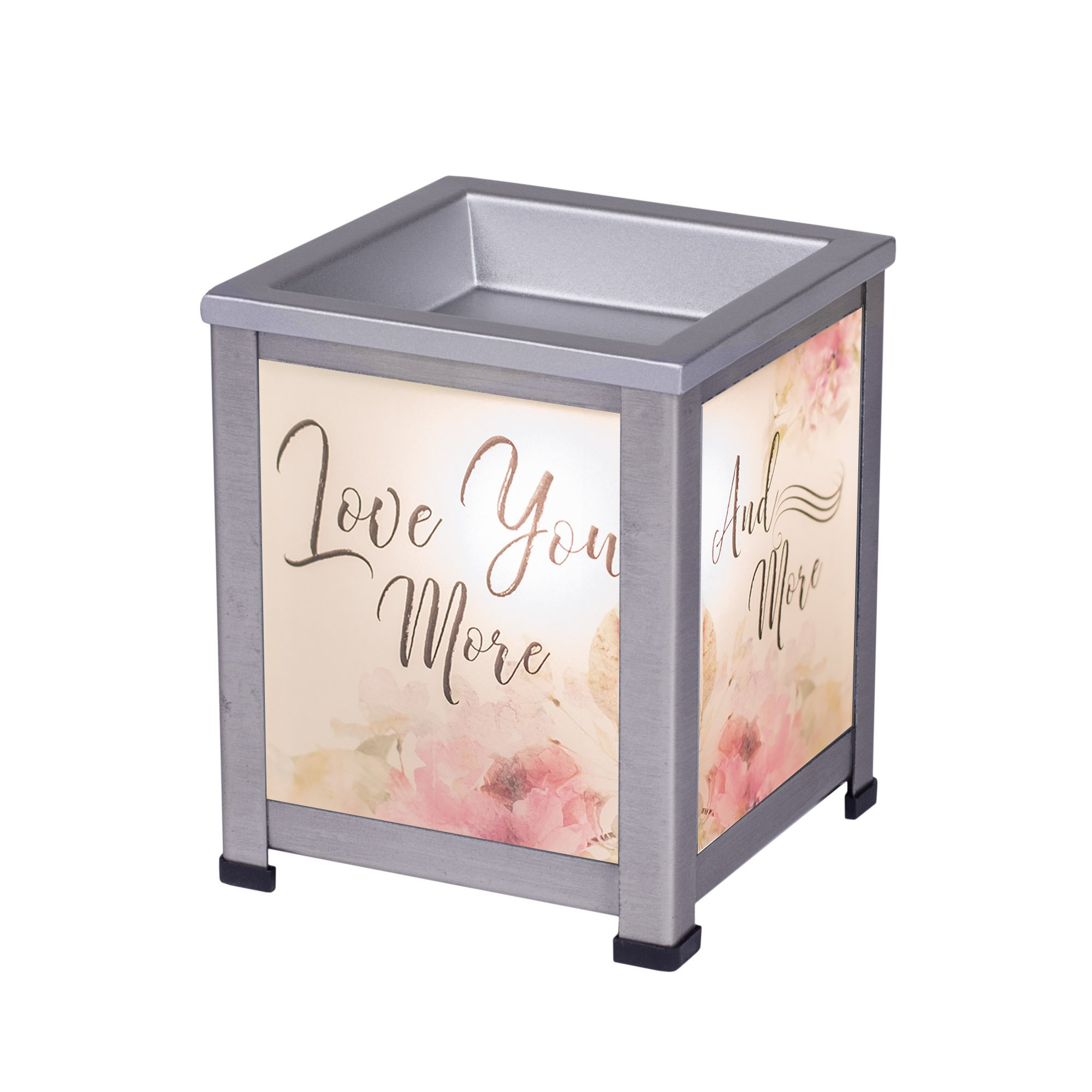 Elanze Designs Everyday Love You More Silver Tone Metal Electrical Wax Tart and Oil Glass Lantern Warmer