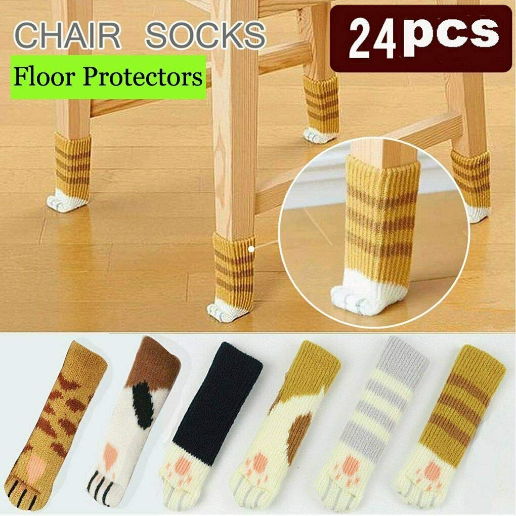 24 Pack Cat Paw Flower Bear Table Chair Foot Doorknob Floor Protector Sleeves US (Cat Paw) by Rima