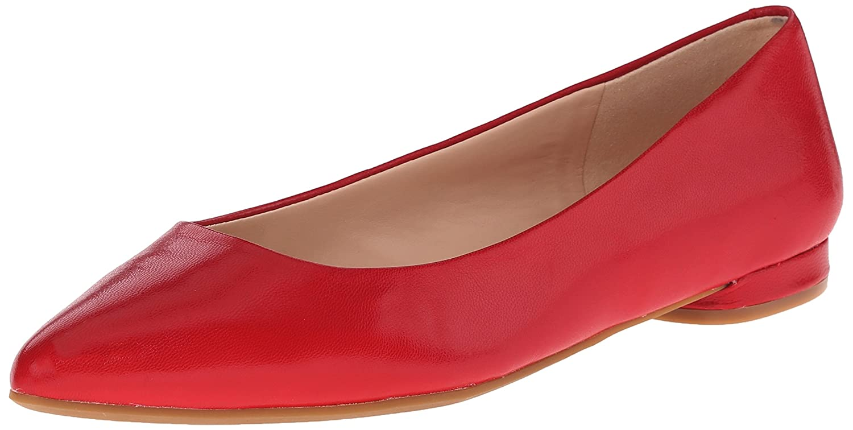 Nine West Women's Onlee Leather Ballet Flat B010DUIS5K 7.5 B(M) US|Red