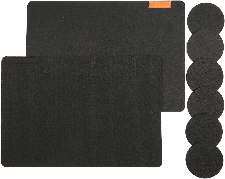 R/ésistant /à la Chaleur 30 x 43cm SHACOS Noir Lot de 6 Set de Table et sous-Verres 12 Pi/èces Sets de Table en Feutre Lavable
