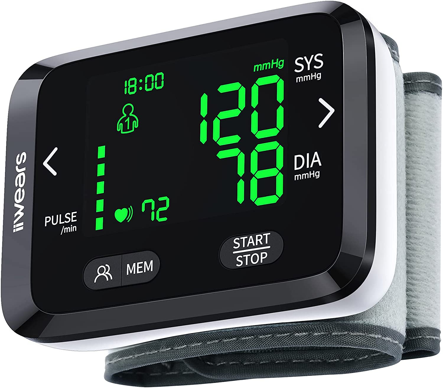 Blood Pressure Monitor iiwears Automatic Digital Wrist Blood Pressure Cuff with 2x99 Memory 3 Color Backlit LCD Display BP Monitor Blood Pressure Cuffs for Home Use Included Batteries