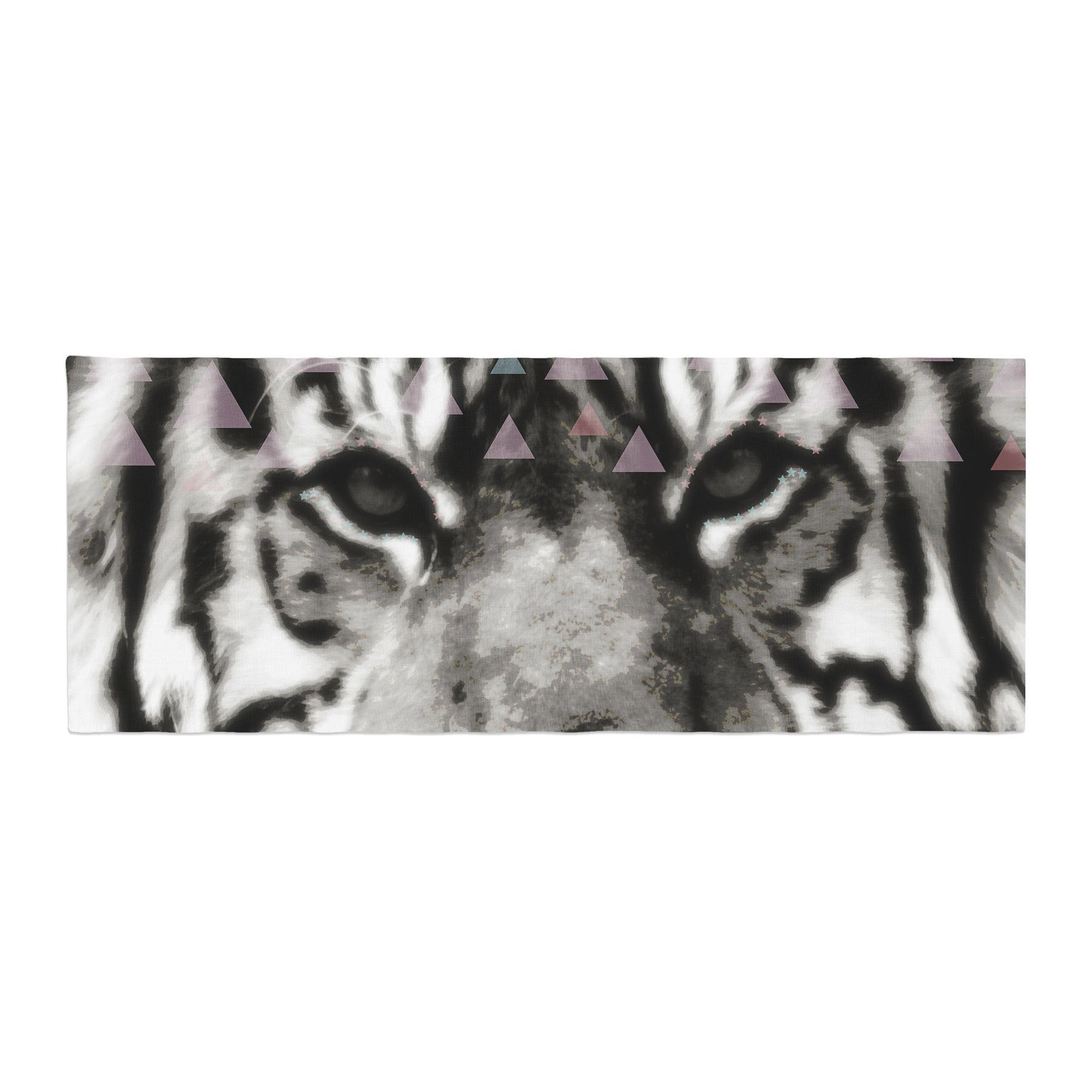 Kess InHouse Suzanne Carter Tiger Face Gray Animal Bed Runner, 34'' x 86'' by Kess InHouse (Image #1)