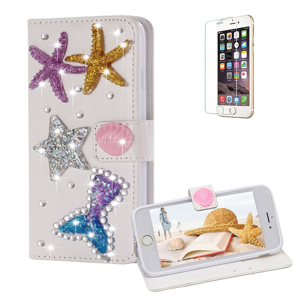 Funyye Diamond Wallet Cover for iPhone 6,Luxury 3D Starfish Design Crystals Bling Magnetic Flip Case Kickstand Feature Card Slots Soft Silicone PU Leather Case for iPhone 6/6S