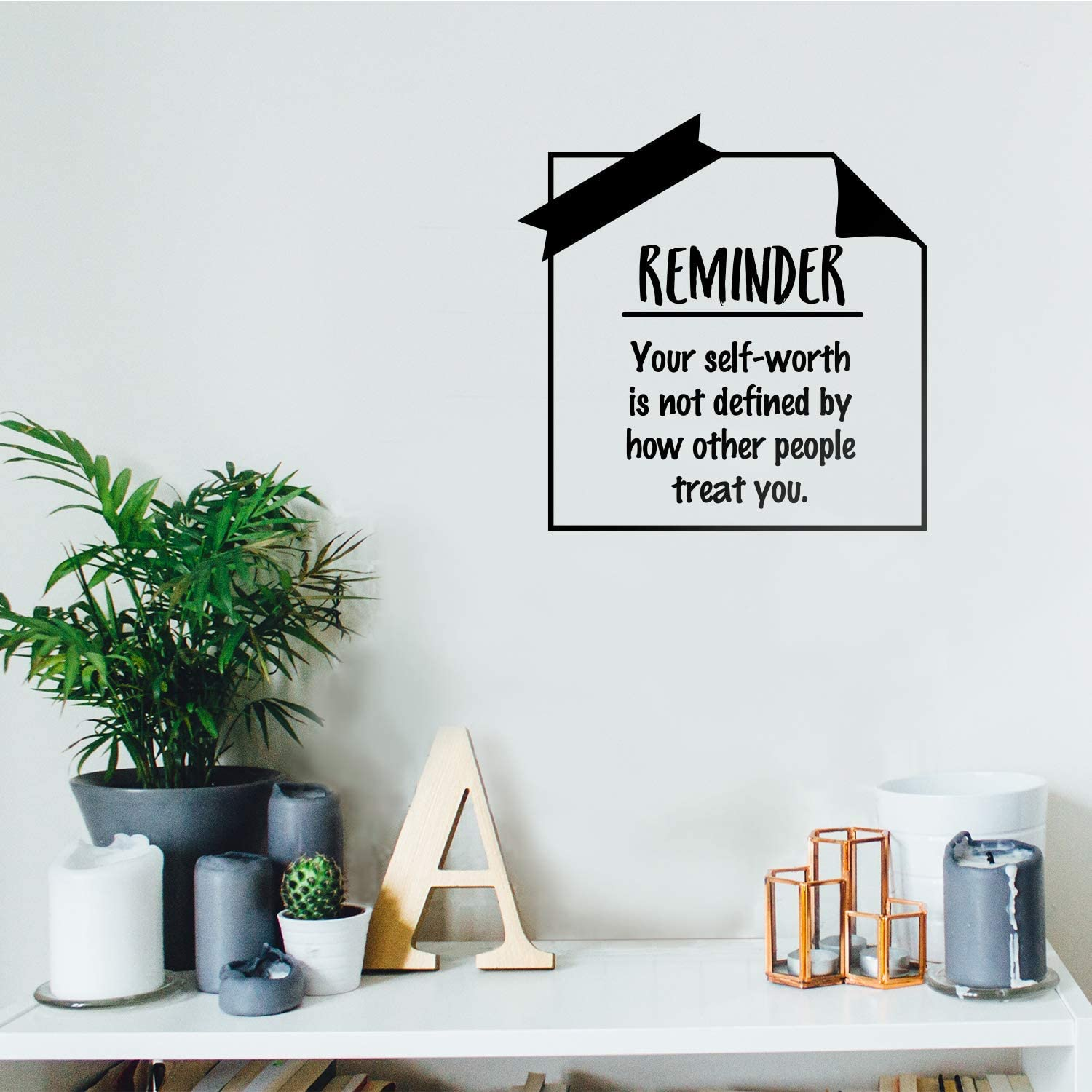 """Vinyl Wall Art Decal - Your Self-Worth is Not Defined by How Other People Treat You - 17"""" x 17"""" - Modern Inspirational Quote for Home Bedroom Living Room Office School Decoration Sticker (Black)"""