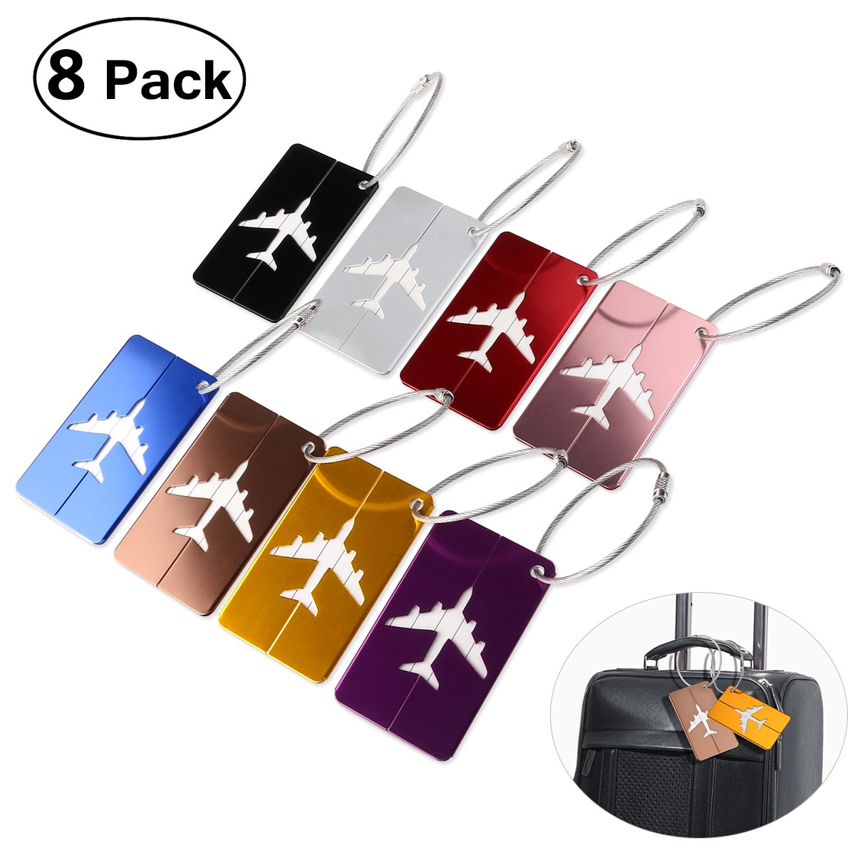 PIXNOR Metal Travel Luggage Tags Suitcase Tags with Strings Pack of 8 22052