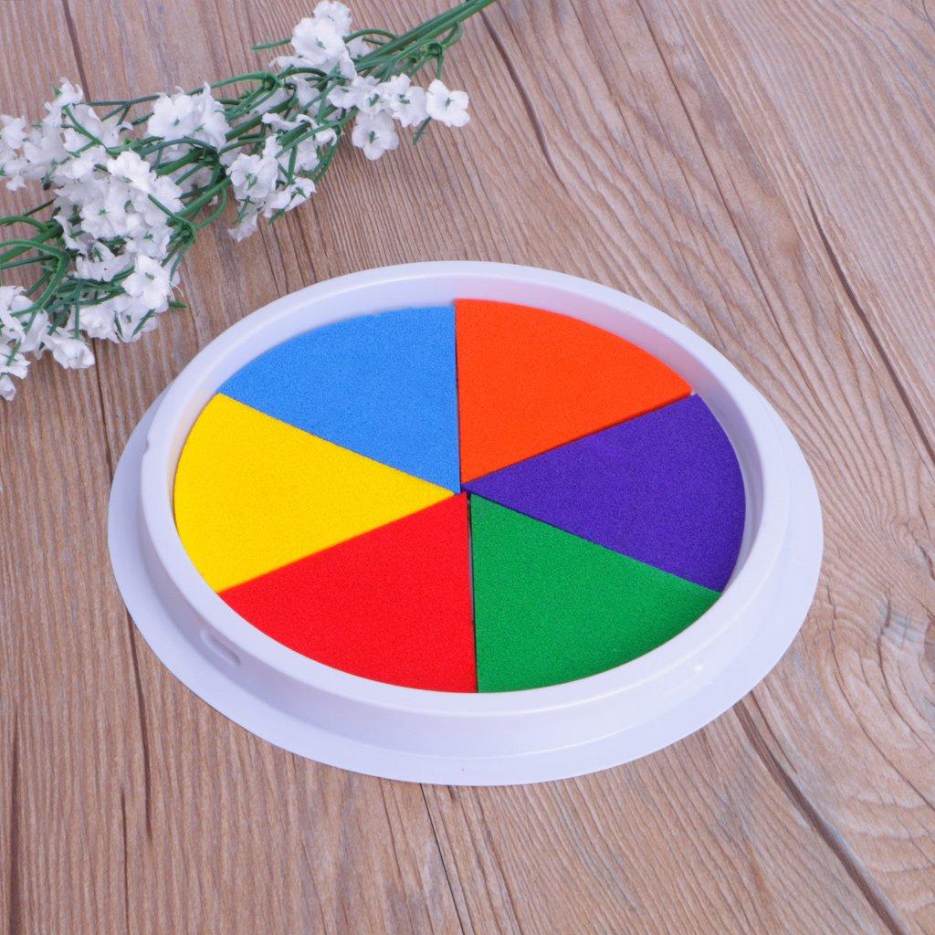 6 Couleurs Tampon encreur Timbre Artisanat Fabrication de Cartes Grand Tour pour Les Enfants LDA Get Fresh des Enfants Frais Bricolage Peinture au Doigt