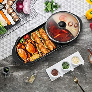 SEAAN Electric Hotpot & Grill Indoor Korean Barbecue Pan with Large Capacity Non-Stick Smokeless Grill Pan with 5 Adjustable Temperature Double-flavor Hot Pot 110V