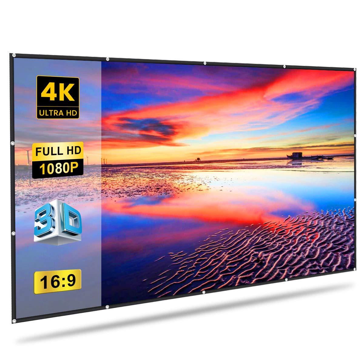GLIME Pantalla de proyección 100 Pulgadas 227 x 131 cm 16: 9 Pantalla proyector de vídeo portátil Plegable película 3D HD TV para Cine de casa ...