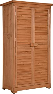 MCombo 63 inch Tall Garden Storage Shed, Tool Shed Organizer, Wooden Tools Shutter, Fir Wood Lockers 0870