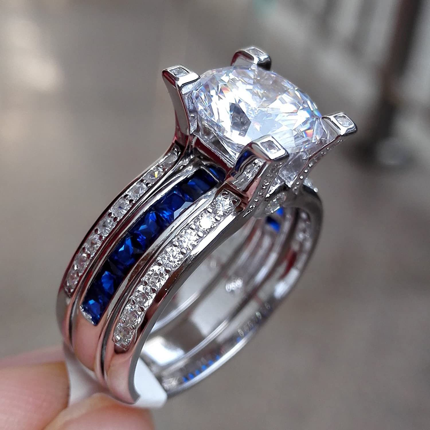 amazoncom newshe jewellery round blue cz 925 sterling silver wedding band engagement ring sets size 5 12 jewelry - Blue Wedding Ring Set