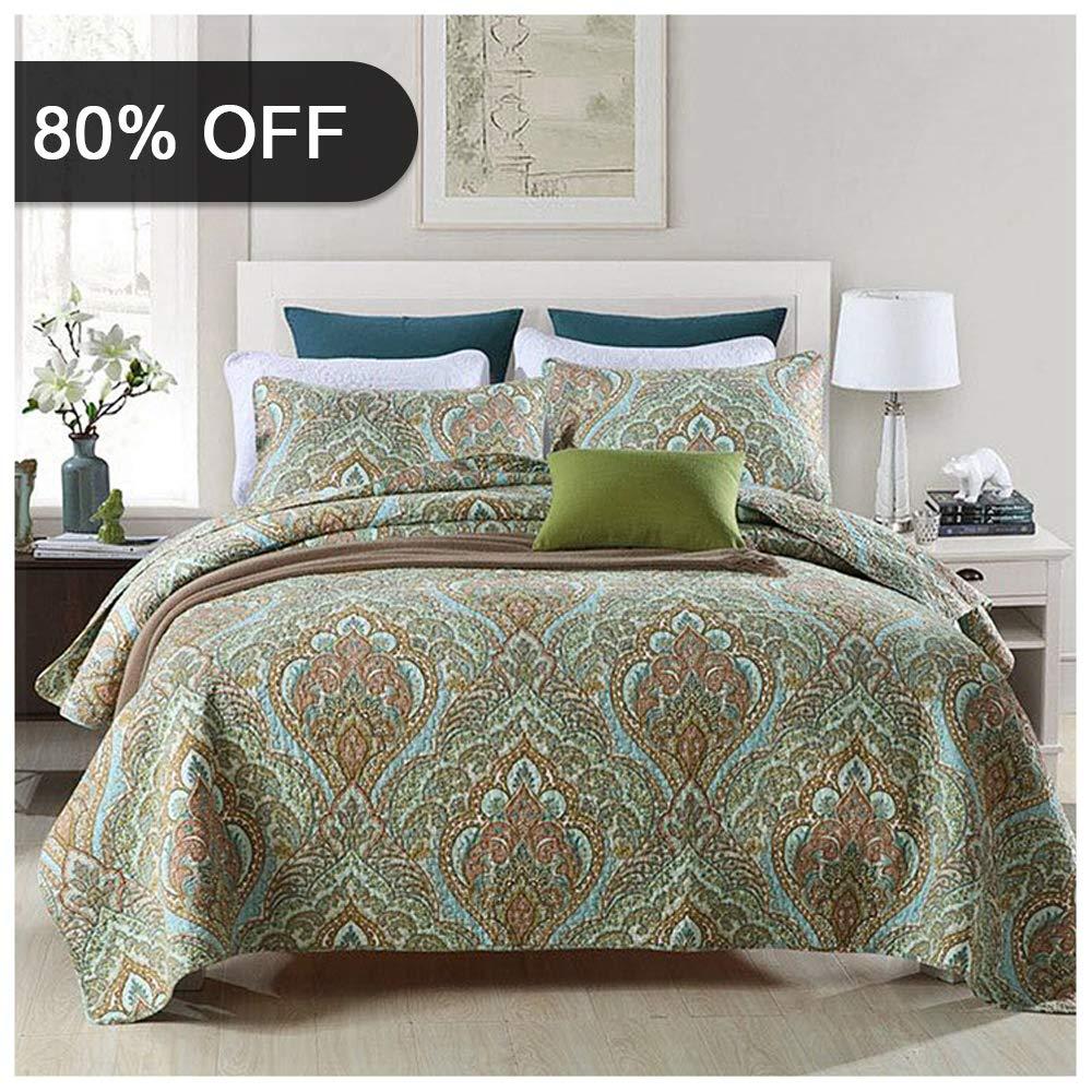 Gravan 3-Piece Queen Quilt Sets with Shams ❤️ Oversized Bedding Bedspread Coverlet Set ❤️ SecretGarden