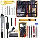 Soldering Iron Kit Electronics, Rarlight 60W Adjustable Temperature Welding Tool, Digital Multimeter, Desoldering Pump…
